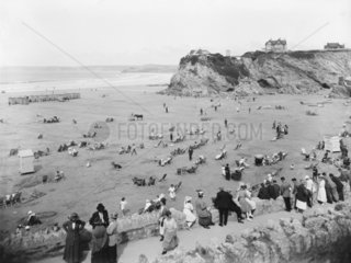 Holidaymakers on the beach at Newquay  Cornwall  1923.