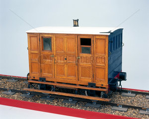 Early second class railway carriage  c 1837
