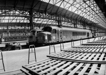 Peak locomotive sat in a deserted Manchester Piccadilly  30 June 1968.