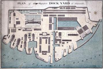 Ground plan of Plymouth Dockyard  c 1802.