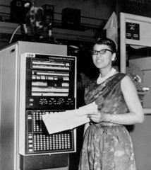 'Female Computer' with IBM X-4  24 March 1952.