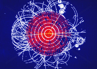 Simulation of a Higgs boson decaying into four muons  CERN  1990.