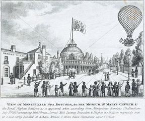 The 'Nassau' balloon ascending at Montpellier Spa  3 July 1837.