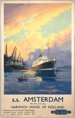 'SS Amsterdam; Harwich - Hook of Holland'  BR poster  c 1950s.