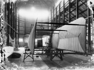 Cody Aeroplane No1  wing section upended on trestles  1908.