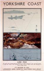'Yorkshire Coast - Line Fish'  LNER poster  1923-1947.