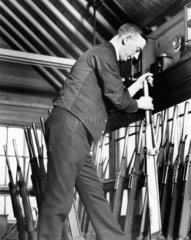 Signal box interior  January 1937. LMS sign