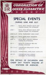 'Coronation of Queen Elizabeth II - Special Events'  BR (SR) poster  1953.