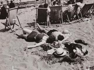 Sunbathing in the Sand  4 July 1936.