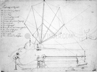 Longitudinal section of Fulton's submarine boat 'Nautilus'  1798.