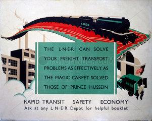 'Rapid Transit  Safety  Economy'  LNER poster  1923-1947.