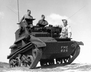 Armoured vehicle with crew  c WW2.