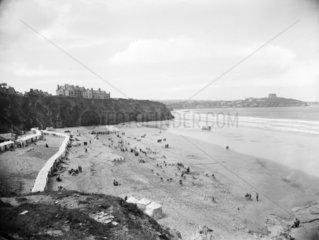 Beach at Newquay  Cornwall  1923.