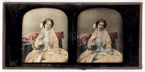 Stereo-daguerreotype of a young woman  c 1853.