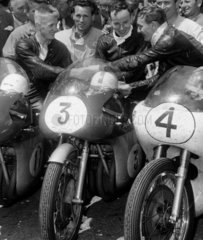 Winners of the TT Seniors motorcycle race  Isle of Man  17 June 1960.