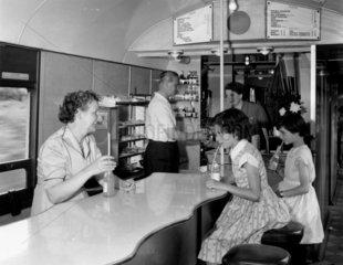 Buffet car on a train en route to Criccieth  North Wales  1955.