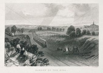 The railway at 'Harrow on the Hill'  London  19th century.
