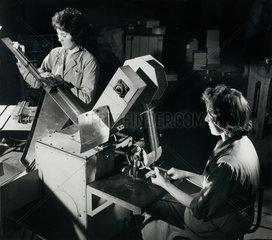 Female employees of Morganite packing and testing resistors at Jarrow  1961.