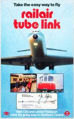 Railair Tube Link  BR Inter-City/London Transport poster  1977.