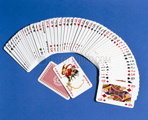A pack of playing cards spread out  2000.