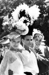 'Egyptian' hair fashions  Royal Ascot  Berkshire  June 1983.