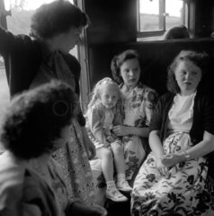 Children travelling in a carriage en route to St Pancras  1950.