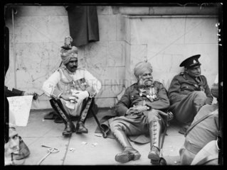 Three Indian soldiers  coronation of King George VI  London  12 May  1937.