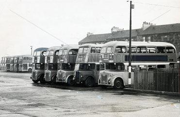 Bus depot  Glasgow  1960s.