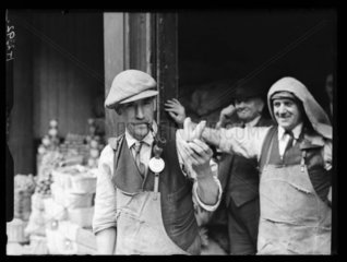 Man holding a carrot in the shape of a 'V' sign  c 1930s.