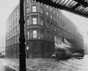 View from the forecourt of Manchester Central Station  29 October 1929.
