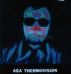 Thermal image of a person with glasses  c 1980s.