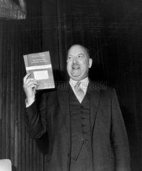 Sir Richard Beeching at a press conference