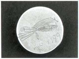 Small silver disc with glider design by Sir George Cayley  1799.