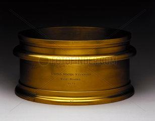 Brass standard half bushel volume measure  United States  1840-1842.