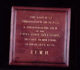 Case for glass negative by John Herschel  1839.