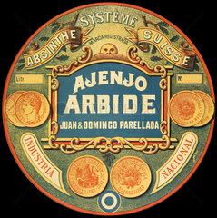 Ajenjo Arbide absinthe label  1890.