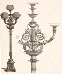 Designs for street lights  probably French  c 1860.