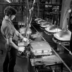 Making colour tv tubes: strapping P tube  Mullard  Simonstone  1968.
