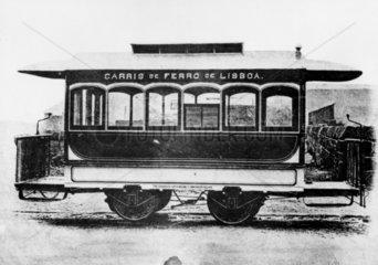 Single deck horse-drawn tramcar  Lisbon