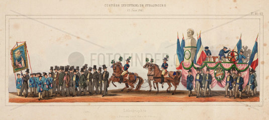 Guild procession of lithographers in Strasbourg  France  28th June  1840.