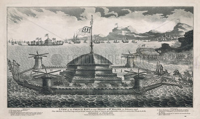 'A view of the French raft  as seen afloat at St. Maloes'  1798.