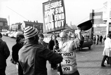 Christian objecting to football on Sundays  Bolton  January 1974.