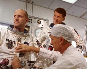 Gemini 6 astronauts Thomas Stafford and Walter Schirra  1965.