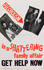 'Alcoholism is a shattering family affair  get help now'  1960s.