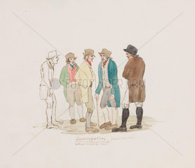 'Conversation'  lead miners  Northumberland  c 1805-1820.