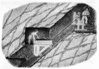 Two children operating a jigger in a mine  1842.