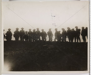 'Reserve troops waiting to move up to the forward area'  France  WWI  1916.