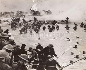 British troops on the beach at Dunkirk  film reconstruction  30 August 1941.