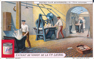 Mechanical kneading machine (dough mixer)  Liebig trade card  early 20th century.