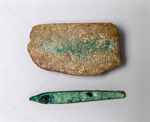 Bronze chisel and sharpening stone  Egypt  c 3000 BC.